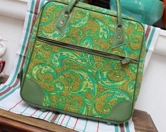 Green Paisley small Luggage Japan WP. Hemenway Portland Oregon Overnight Bag Purse VINTAGE by Plantdreaming