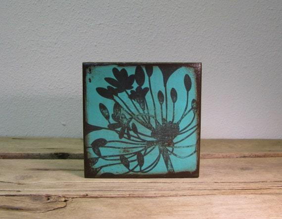 Floral Art Block Painting Wall Hanging -- Agapanthus-- MatchBlox-1738