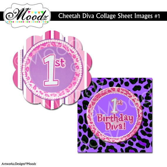 Purple Pink CHEETAH DIVA / ANY Birthday, Baby Shower, Party / 2 inch Square Digital Collage Sheet - cupcake toppers, stickers, etc.