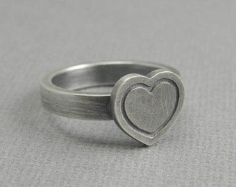 solid sterling silver heart ring. oxidized finish. brush matte finish. valentines ring. love ring. size 8.5 artisan handmade
