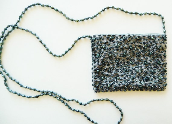 AUDREY - 90s - Silk Glass Beaded - Pierre Urbach - Evening- Designer -Gray Pewter - Teeny Purse - 1920s Fashion - Gatsby  Art Deco -Recycled