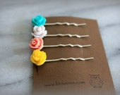 Mini Rose Bobby Pin Set. Girls, Womens Hair Accessories, Hair pin, Gift by ktnunna