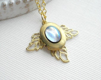 Oval Locket Necklace. Small Angel Locket. Light Sapphire Stone Necklace. Sky Blue, Gold Locket