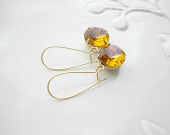 Topaz Earrings, Long Topaz Earrings In Gold, Vintage Style Jewelry, Caramel Glass Drop Earrings November Birthstone Jewelry, Birthday