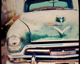 Vintage Chrysler Photograph, Teal Blue Car, Route 66 Photography - Masculine Wall Art, burnt orange, rustic home decor, playroom wall decor
