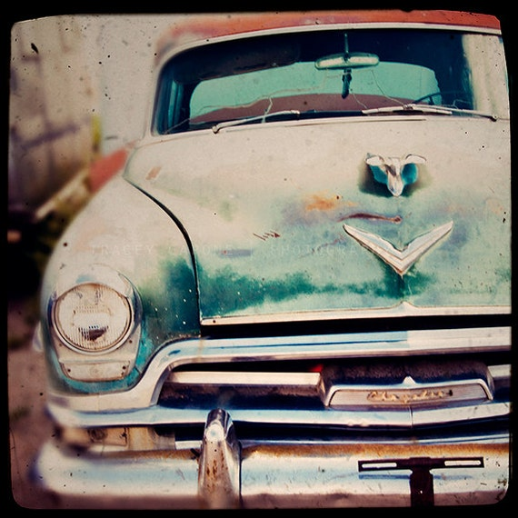 Photography of a Vintage Chrysler / Route 66 car art / home decor / art for walls / wall art print / teal,  burgundy / retro art for men