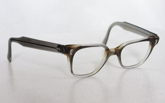 Vintage 1950s Liberty Brand Super Cool Geekish Translucent Grey Eyeglasses