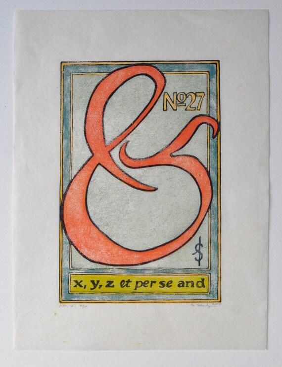 No. 27 - Ampersand Multi Block Linocut Fine Art Print OOAK