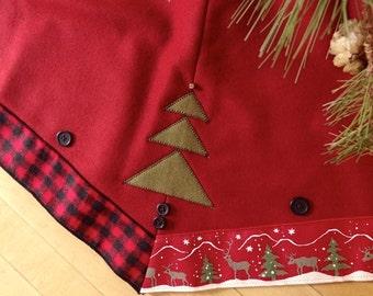 Made in U.S.A. RED Plaid Wool Christmas Tree Skirt 52 inch Holiday Tree Skirt w/Plaid Ribbon Trim