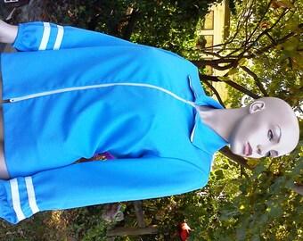 Womens Vintage Plus Size 70s Jacket, Vintage Jacket, 70s Warm Up Jacket, Vintage Costume by NPC Fashions in Blue & White Size 16