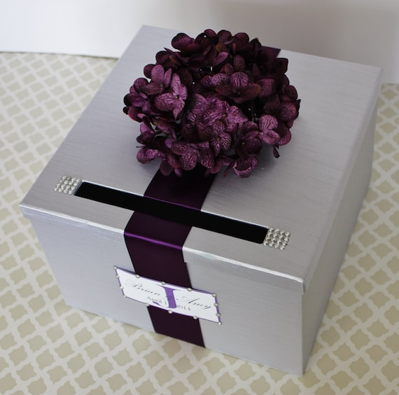 Purple Wedding Card Box: Items Similar To Wedding Card Box Silver And Plum Purple