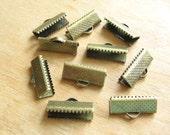 Antiqued Brass Crimp Clamp End Connectors for Leather, Trim, Braid - 10 Pieces/5 Pairs 16mm