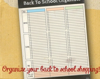 Back to School Shopping Organizer / Planner Page / Printable / Full Page