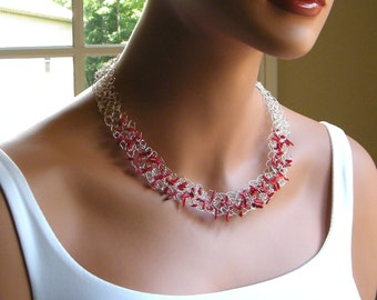 ON SALE, Coral Necklace, Genuine Red Coral Necklace, Wire Lace Necklace, Wire Crochet Necklace