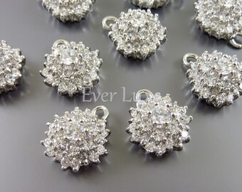 1 Clear crystal Cubic Zirconia blossomed flower charms / pendants, wedding / bridal jewelry supplies 1911-BR (bright silver, 1 piece)