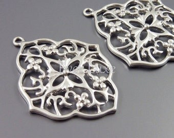 2 large beautiful floral filigree pendants, silver brass flower metal findings / jewelry making supplies 1766-MR (matte silver, 2 pieces)