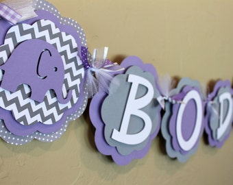 Elephant Chevron Stripe and Polka Dot IT'S A GIRL or NAME Banner Lavender Purple and Gray Girl Baby Shower Birthday Party Decorations Banner