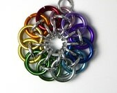 Rainbow and Silver Celtic Star Chainmaille Pendant