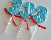 1 DOZEN Chocolate Number 3 Lollipops - 0, 1, 2, 3, 4, 5, 6, 7, 8, 9 available - 3rd Birthday Party favor, Toddler Gift, Third Anniversary