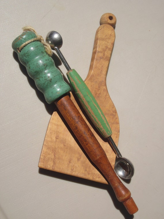 Old Kitchen Utensils Vintage Green Handle By Itseebitsee