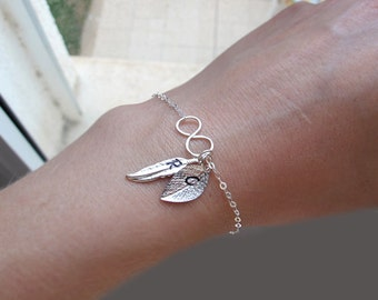Initial Charm Bracelet / Personalized Infinity Bracelet / Sterling Silver Hand Stamped Bracelet / Leaf, Feather / Mom Bracelet. Gift for Her