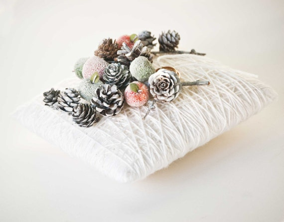 Winter wedding ring bearer pillow , Winter wedding decor, Winter ring holder pillow, Winter wonderland wedding decoration, Ivory ring pillow