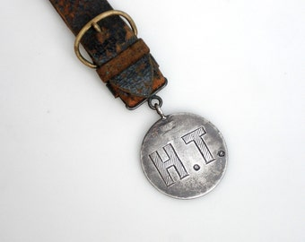 Antique Sterling Silver and Leather Watch Fob for a Belt