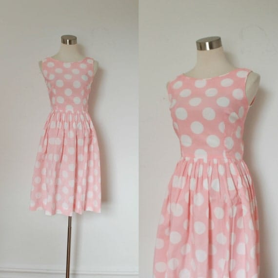 Vintage Polka Dot Dress / 1960s Pink and by lapoubellevintage