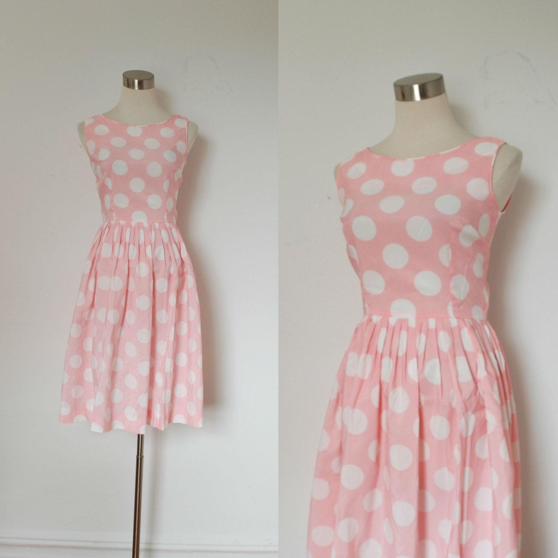 Vintage Polka Dot Dress / 1960s Pink and White Dress / Sun