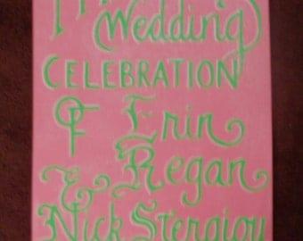 Custom hand painted wedding sign on canvas