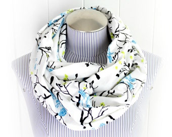 White with Blue Birds Flannel Infinity Scarf, Chartreuse Leaves, Cerulean Birds and Black Sticks on White Flannel
