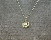 Letter D Necklace - Silver Initial Typewriter Key Charm Necklace - Gwen Delicious Jewelry Design GDJ