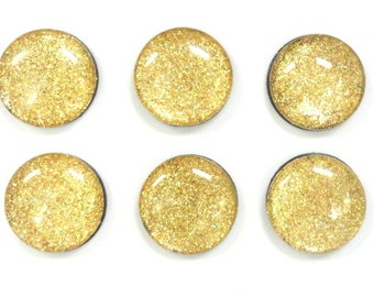 Gold Glittered Glass Magnets, Set of Six, One Inch Round, Refrigerator Magnets, Office Magnets
