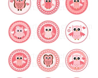 Instant Download - Pink Owls Printable Collage Sheet - 2 inch circles for cupcake toppers, magnets, pendants 343