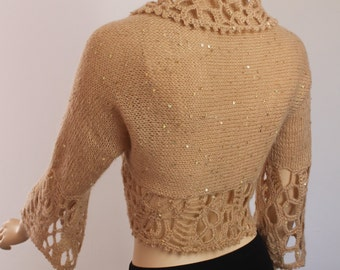 Hand Knitted  Crocheted  Beige  Shrug  Bolero - 3/4 sleeved  -  Payette