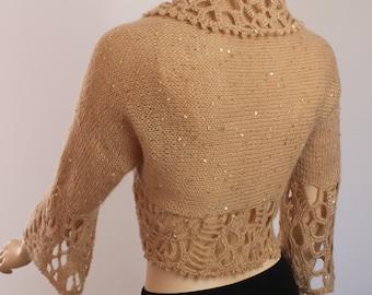 Hand Knitted  Crocheted  Beige  Shrug  Bolero - 3/4 sleeved  -  Payette