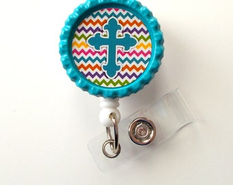Chevron Cross Blue - Nursing Badge Holder - Teacher Badge Reel  - Nurse Name Badge - Nurses Badge - Cute ID Badge Reel - RN Badge
