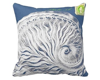 Pillow Cover Beach Decor Blue White and Lime Nautilus Shell