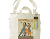 FREE SHIPPING Women Work for Victory: Farm, Office, Factory WW2 Poster- 100% Recycled Cotton Tote Bag with Dual Handles