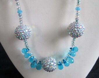 Sassy in Bling Diva Necklace - Elegant - Feminine - Czech Teal Crystals - Beach Glass Beads - Summer