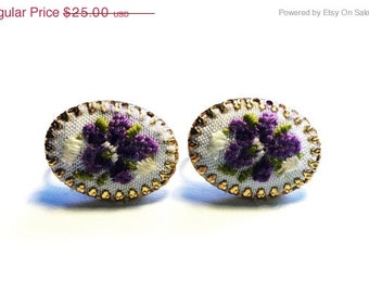 Vintage Purple Floral Cameo Embroidered Gold Clip On Earrings 1960s Mad Men Style Jewelry Retro Chic - Gift Sale - Purple Beige Green
