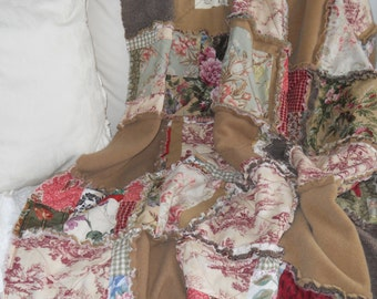 Cozy Shabby Wool and Cotton Rag Patchwork  Ralph Lauren Adriana Olive, Moss, Camel, Wine, Claret Toile and Browns Throw Quilt Picnic Blanket