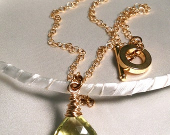 Luscious Lemon Quartz and Gold Wire Wrapped Necklace