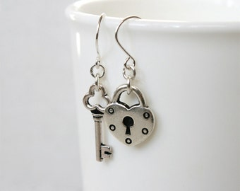 Lock and Key Earrings (Silver, Copper and Brass colors to choose)