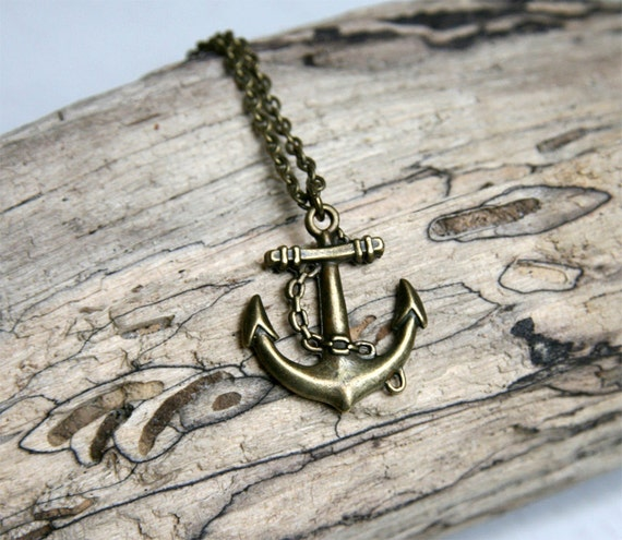 Antique Brass Anchor Necklace