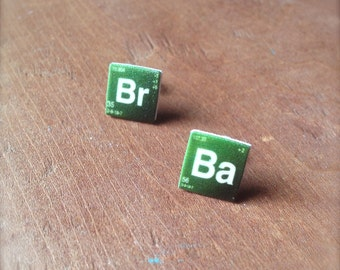Breaking Bad Earrings BrBa Stud Earrings Periodic Elements
