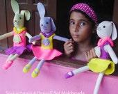 Doll Bunnies Pattern - Sewing felt tutorial PDF ballerina doll - girly bunnies photo tutorial - Instant DOWNLOAD