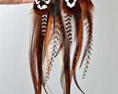 EYE OF the TIGER  Feather Earrings - Earthy Browns and Pheasant Long Feather Earrings w Tigers Eye Beads. All Natural Rooster Feathers