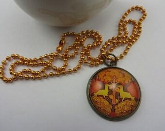 Woodland Deer Necklace Rustic Yellow Orange Brown Glass Pendant Boho Free Shipping