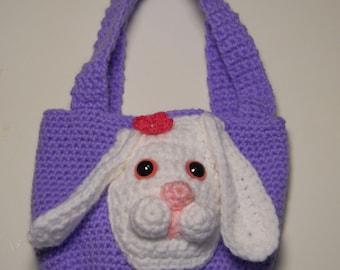Crocheted handmade purse Bunny/Rabbit amigurumi style